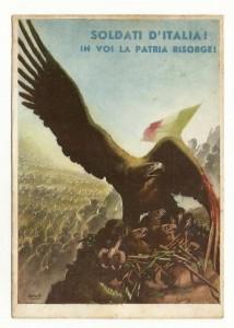 Cartolina Boccasile Soldati d'Italia in voi la Patria risorge