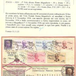 ITALIA – 1934 – I° Volo diretto Roma Mogadiscio – 30c. bruno + 50c. violetto + P.A. 1 L. violetto + 2L. azzurro + 4L. bruno rosso + 5L. verde + 8L. rosa + 10L. bruno ( Sass. P.O. 249 + 251 +P.A. 83/88 ) usati su aerogramma.