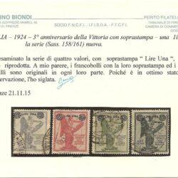 ITALIA – 1924 – 3° Anniversario della Vittoria con soprastampa – una Lira – la serie (sass.158/161) nuova.