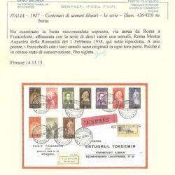 ITALIA – 1937 – Centenari di uomini illustri – la serie- ( Sass. 426/435) su busta.