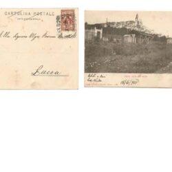 Cartolina – Cervo visto dal mare ( Imperia) panorama con veduta in primo piano della stazione ( senza treni)