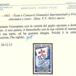 ITALIA – 1951 – Feste e Concorsi Ginnastici Internazionali a Firenze – 15l. oltremare e rosso (Sass.F.T./663c) nuovo.