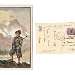 Cartolina illustrata da Borghi G. della Milizia Nazionale Forestale IV Legione Torino