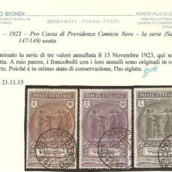 ITALIA – 1923 – Pro Cassa di Previdenza Camicie Nere – la serie (Sass. 147/149) usata.