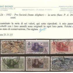 ITALIA – 1932 – Pro Società Dante Alighieri – la serie (Sass. P.A. 26/31) usati.