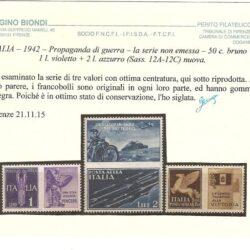 ITALIA – 1942 – Propaganda di guerra – la serie non emessa – 50c. bruno + 1L. violetto + 2 L. azzurro (Sass.12°- 12C) nuova.