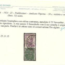 ITALIA – 1924-25 – Pubblicitari – Amilcare Piperno – 50 c. violetto e verde (Sass.13) usato.