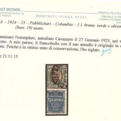 ITALIA – 1924-25 – Pubblicitari – Columbia – 1L. bruno, verde e oltremare (Sass. 19) usato.