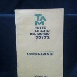 TAM –Tutte le auto del mondo 72/73 – Aggiornamento – 1972