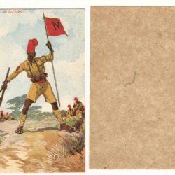 Cartolina IV° battaglione indigeni della Somalia Italiana – Edizione d'Arte V.E. Boeri – Disegno di Ferrari