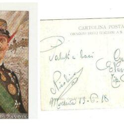 Cartolina Bianca Croce di Savoia- Dio ti salvi! E salvi il Re –G.Carducci