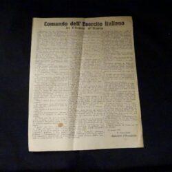 Documenti cartacei Militaria RSI – Volantino- Comando dell'Esercito Italiano – Gabriele D'Annunzio -1920