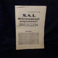M.S.I Orientamenti programmatici – Supplemento al N° 30 di LOTTA POLITICA – Tip. S.E.I Roma