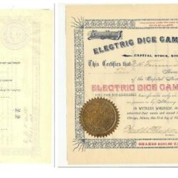 Scripophily Elecrtric Dice Game Company 1893 100$