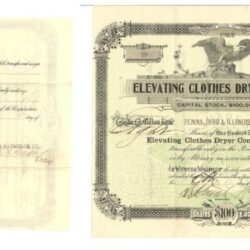 Scripophily Elevating clothes dryer Company 1899 ca. 100$