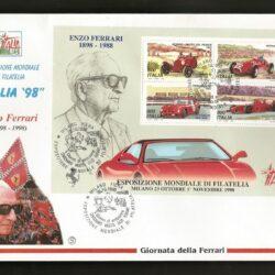 Busta FDC foglietto Filigrano -senza timbro d'arrivo- Italia Repubblica 1998(26 ottobre) Esposizione Mondiale di Filatelia . 6° emissione