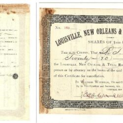Scripophily Louisville, New Orleans & Texas Railway Co. 1888 20$