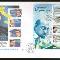 Busta FDC foglietto Filigrano -senza timbro d'arrivo- Italia Repubblica 2003 (21 settembre) Pionieri dell'aviazione italiana nel centenario del primo volo.