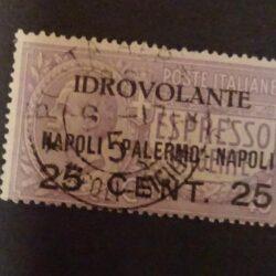 Regno d'Italia – Aerea – 1917 (27 giugno) 25c. su 40c. violetto