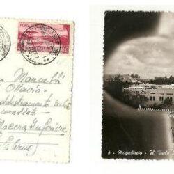 Cartolina con francobollo 1950-51 aereo e veduta 45c. rosa carminio
