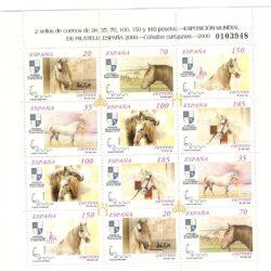 Spagna 2000 Espana 2000 Esposizione filatelica di Madrid Cavalli andalusi Minifoglio di 2 serie 3290/95 3290 A/ 95 A