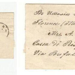 Fascetta postale con francobollo 1866-75 2k. Nero e rosso
