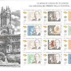 Spagna minifoglio da 12 valori 150° anniversario del francobollo spagnolo 2000 nuovi 3254/60