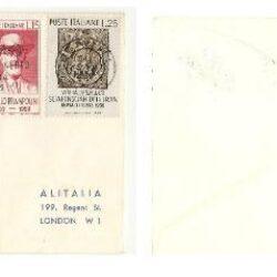 Busta Primi Voli Alitalia Primo collegamento aereo Rimini Londra 1959