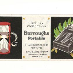 Cartoncino pubblicitario Burroughs Portable – Nanni – Firenze