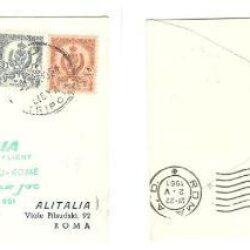 Busta Primi Voli Alitalia Dc-8 Jet Tripoli Roma 1961