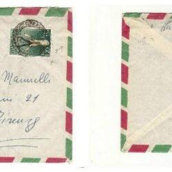 Busta con francobollo 1955 Animali 1.20c.verde ocra e grigio