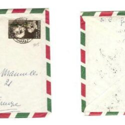 Busta con francobollo 1955 Fiori 1.20c.sesamothamnus.