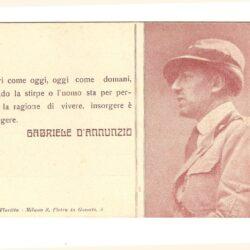 """Cartolina Gabriele D'Annunzio """" Ieri come oggi…"""""""