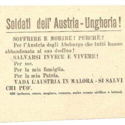 Volantino Soldati dell'Austria – Ungheria !