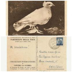 Cartolina postale 5 Lire Democratica, solo saluti , Congresso Mondiale Partigiani della Pace – Parigi Aprile 1999