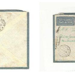 Colonie Italiane busta per via aerea affrancata con: coppia 10 cent. Etiopia, Sassone 1, 25 cent. Etiopia Sassone 3, 1 Lire Somalia Sassone 21, su busta