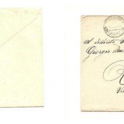 San Marino busta affrancata con: 15 + 10 cent. Delfico, 20 cent. Garibaldi, 5 cent. veduta