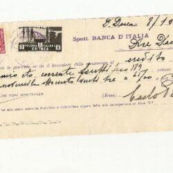 Colonie Italiane, assegno di credito Banca d'Italia di Dire Daua 08/10/1938, con francobolli 75 cent. Somalia + 5 cent Eritrea  applicati come uso bollo.