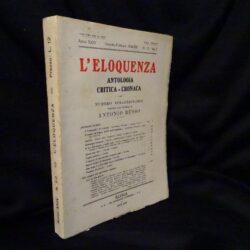 L'eloquenza  Antologia Critica – Cronaca- Numero Straordinario dedicato alla memoria di Antonio Russo – Anno XXIV Gennaio – Febbraio 1934 – N°1-2 Vol. I