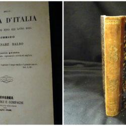 Della storia d'Italia dalle origini fino all'anno 1814 sommario di Cesare Balbo ediz. 5° –  Losanna S. Bonamici e compagni 1849