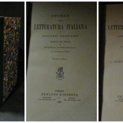 Storia della letteratura italiana di Adolfo Gaspary tradotto da Nicola Zingarelli Vol I- 2 Torino –  Loescher 1887 – 1891