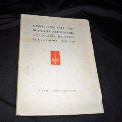 I primi cinquanta anni di attività della Libreria Antiquaria Editrice Leo S. Olschki 1886-1936 – Firenze