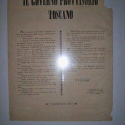 """Editto """"Il Governo Provvisorio toscano"""" 9 marzo 1849 Guerrazzi – Adami"""
