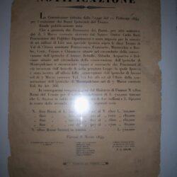 """Editto """" Notificazione"""" Firenze 8 marzo 1849  Nervini – Adami"""
