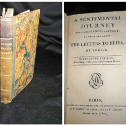 Sentimental journey Through France and Italy  to wich are added The Letters to Eliza by Yorick – Paris 1800