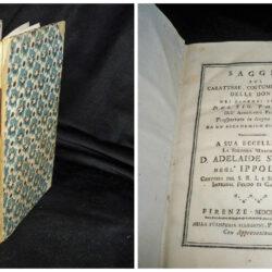 Saggio sul carattere, costumi e spirito delle donne nei diversi secoli  del Sig. Thomas dell'Accademia Francese – Firenze 1773