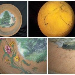 Piatto legno dipinto '800