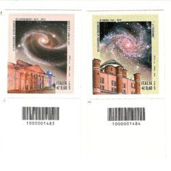 Italia Repubblica 2012 250° anniversario della fondazione dell'Osservatorio Astronomico di Brera e 200° anniversario della fondazione dell'Osservatorio di Capodimonte – codice a barre