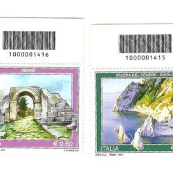 Italia Repubblica 2011 Propaganda Turistica 38° emissione – serie 4 valori Codice a barre