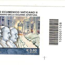 Italia Repubblica 2012 50° anniversario del Concilio Ecumenico Vaticano II – codice a barre